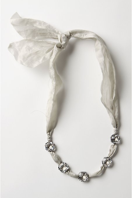 Anthropologie Frayed Diamonds Necklace - Grey