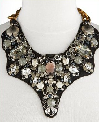 Prada Stone Bib Necklace in Clear Black