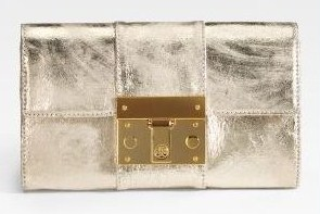 Tory Burch Caesey Leather Clutch Platinum