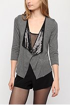 Silence and Noise Sequin Trim Cardi