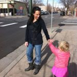 What Moms Wear:  Jayme's Interesting Sweater & Cuffed Boyfriend Jeans