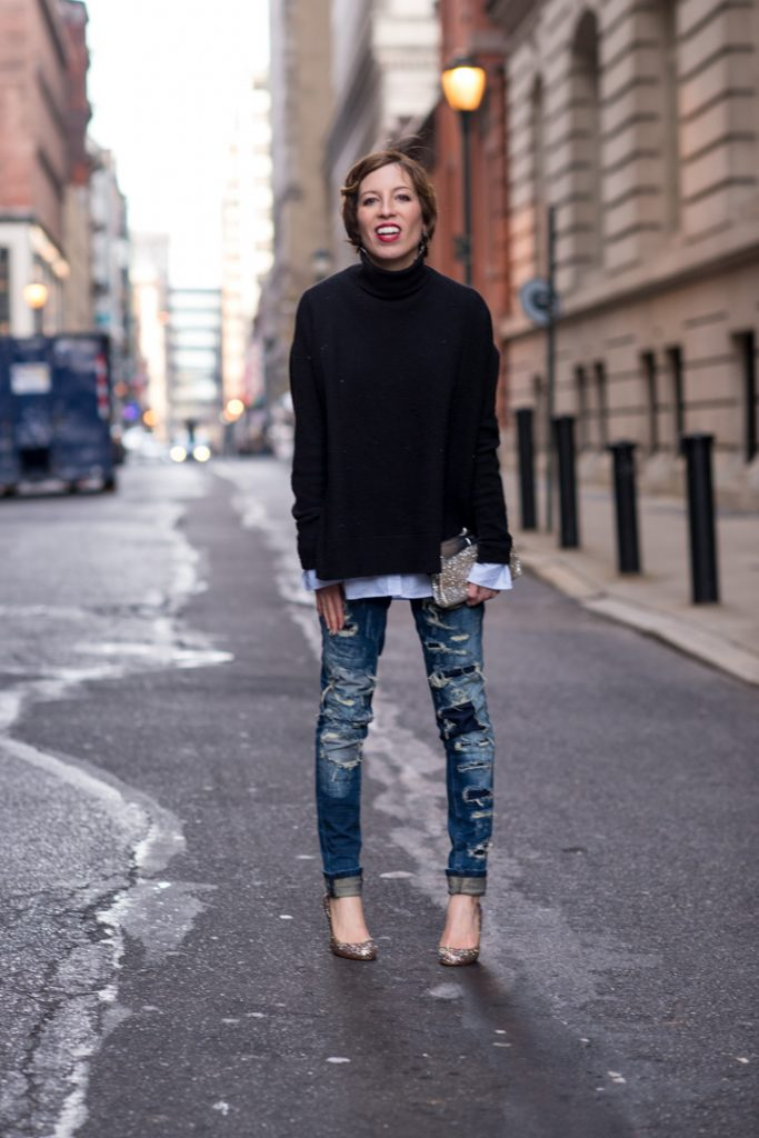 blank-denim-destroyed-jeans-black-cashmere-turtleneck-katespade-glitterheels