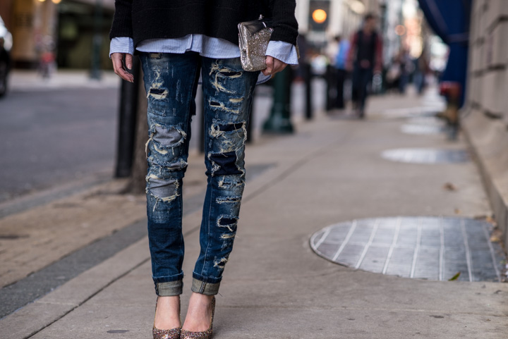 blank-denim-destroyed-jeans-black-cashmere-turtleneck-katespade-glitterheels-7