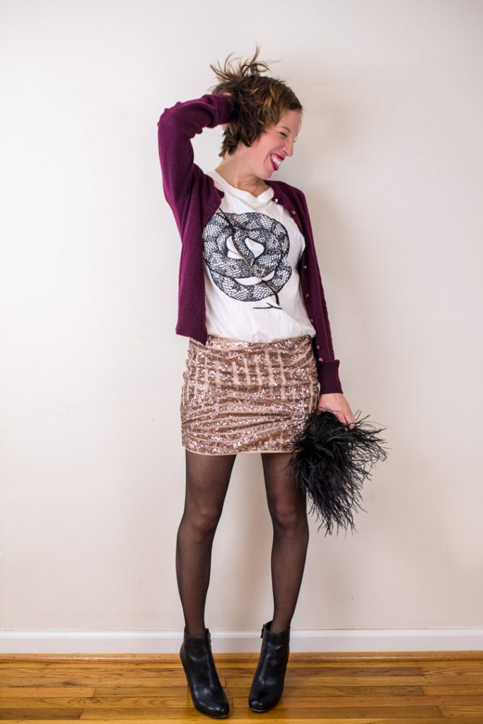 sequin-skirt-black-ankle-boots-wild-unknown-graphic-tee-cashmere-cardigan-3