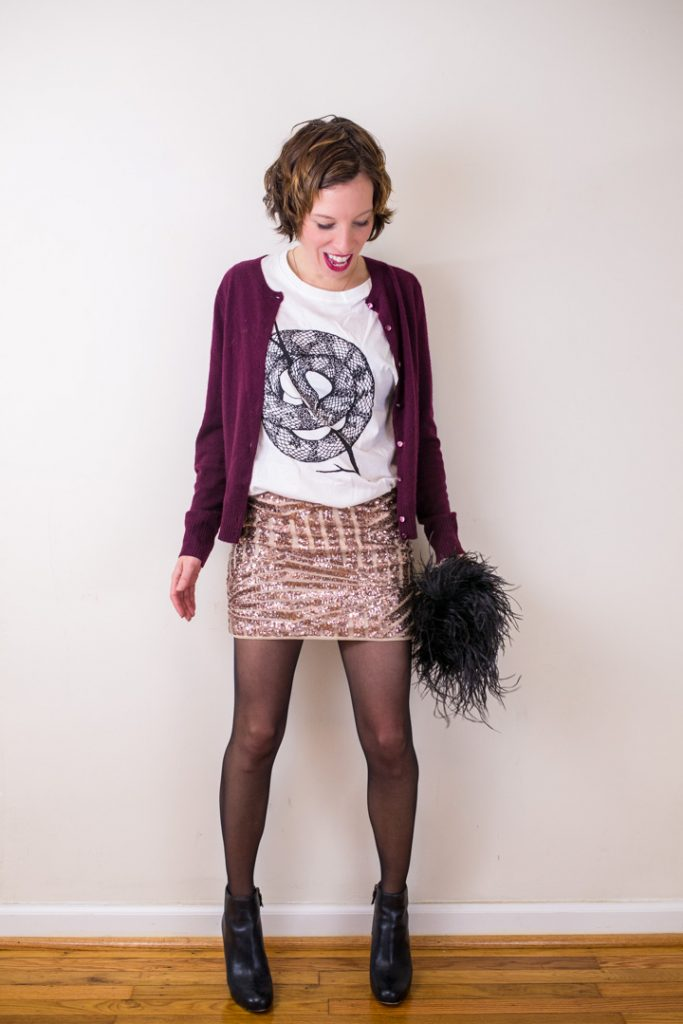 sequin-skirt-black-ankle-boots-wild-unknown-graphic-tee-cashmere-cardigan