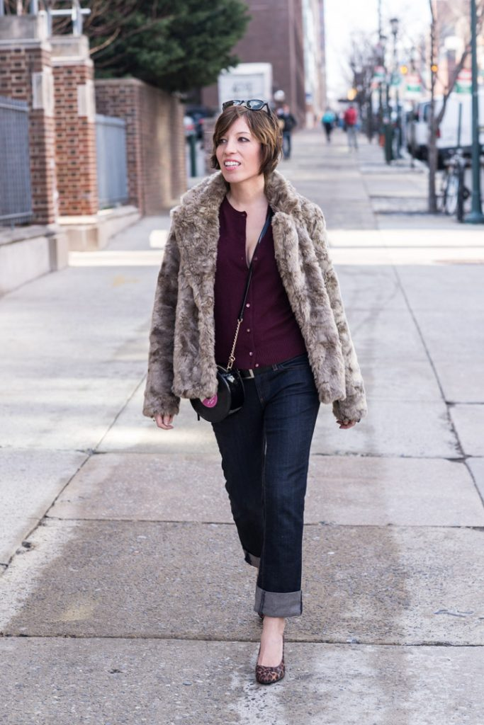 boyfriend-jeans-anthropologie-jcrew-cardigan-leopard-heels-faux-fur-coat-forever21-3