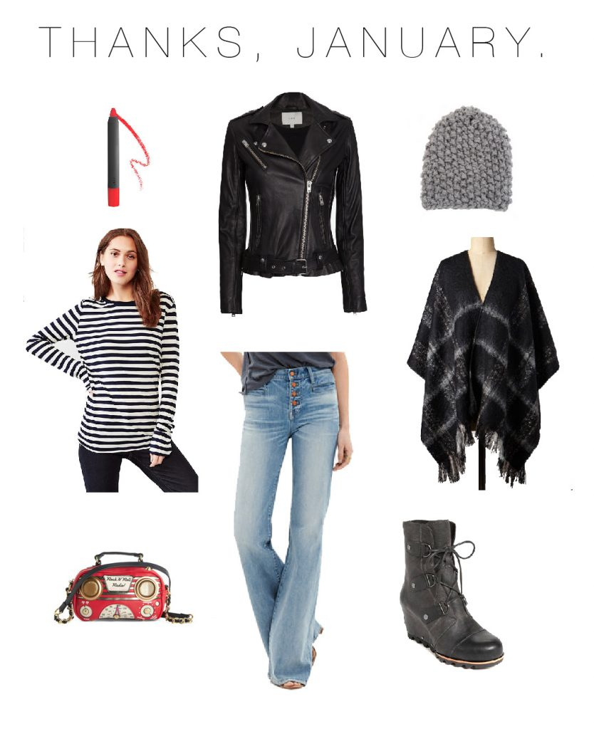 iro-leather-jacket-madewell-flare-jeans-gap-striped-shirt-plaid-poncho-radio-clutch-sorel-wedges