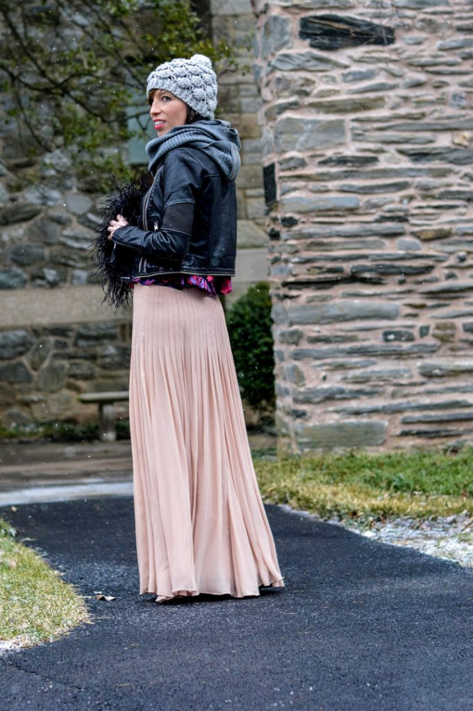 chiffon-maxi-leather-jacket-winter-floral-beanie