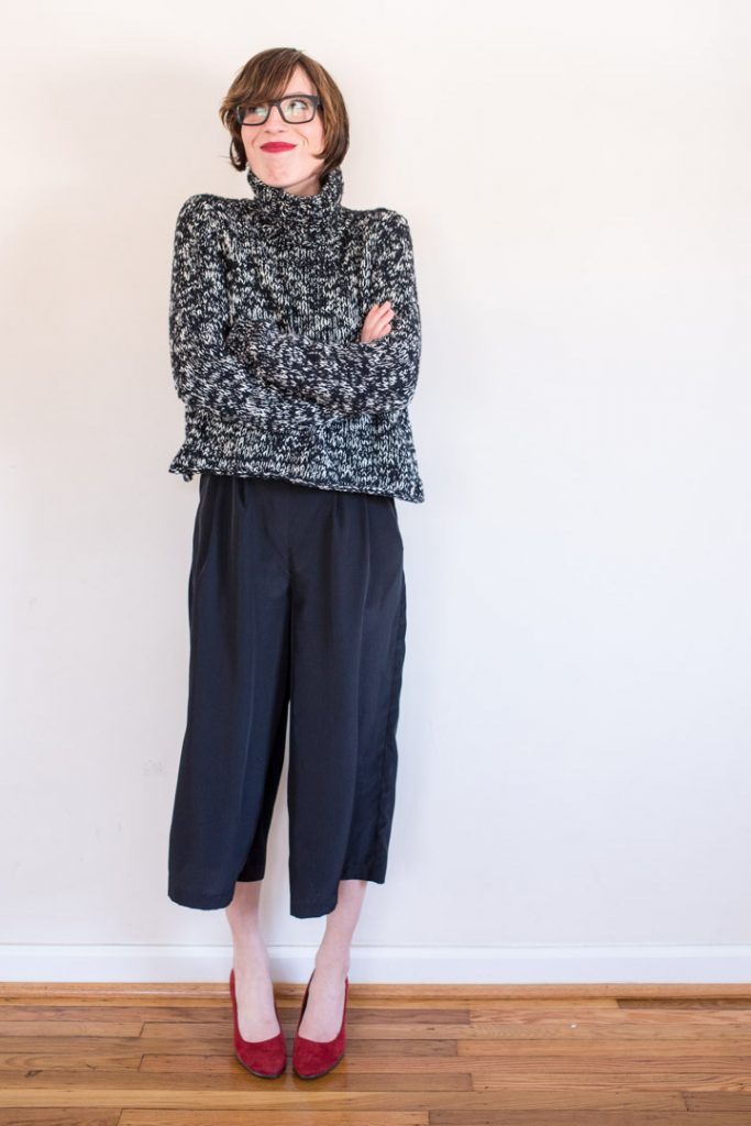 culottes-jumpsuit-silk-cropped-eileenfisher-sweater-warbyparker-glasses-2