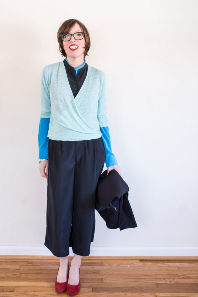 culottes-jumpsuit-silk-wrap-sweater-pastel-warbyparker-glasses-2