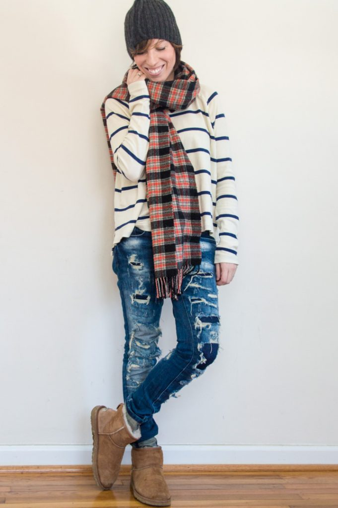 everydaystyle-uggs-striped-shirt-plaid-scarf-destroyed-jeans
