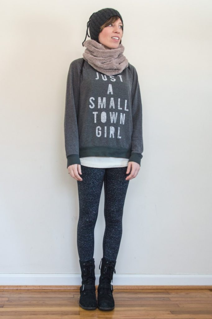 everydaystyle-zella-leggings-ugg-combat-boots-smalltowngirl-sweatshirt-faux-fur-cowl