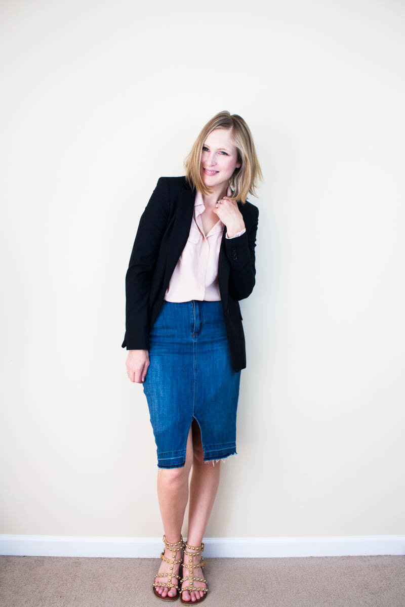 blazer-with-denim-skirt