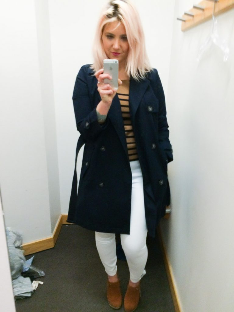 gap dressing room selfie final trench coat outfit