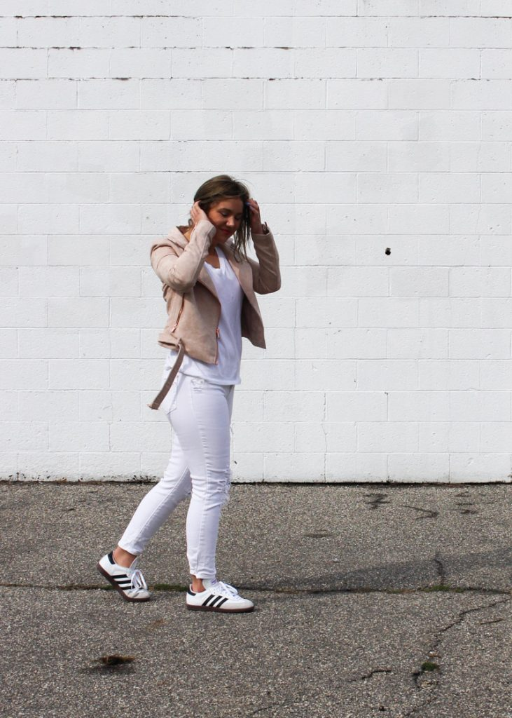 samba sneakers white denim outfit
