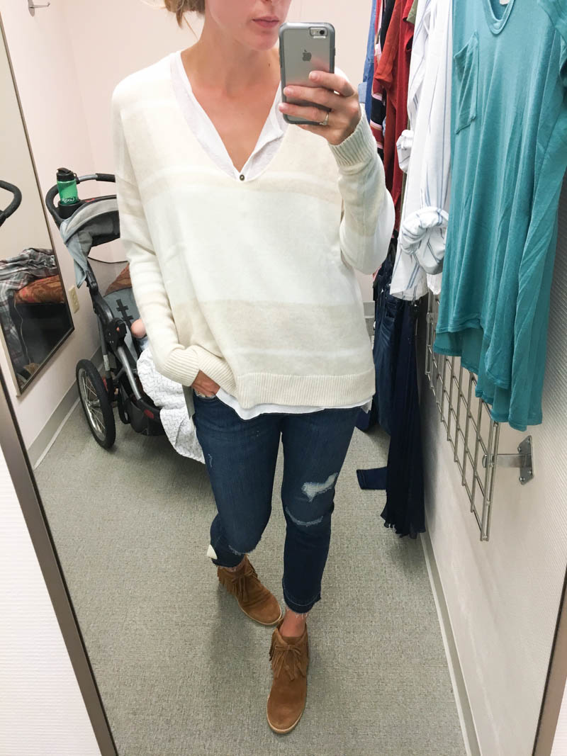 layer light sweater over henley for fall