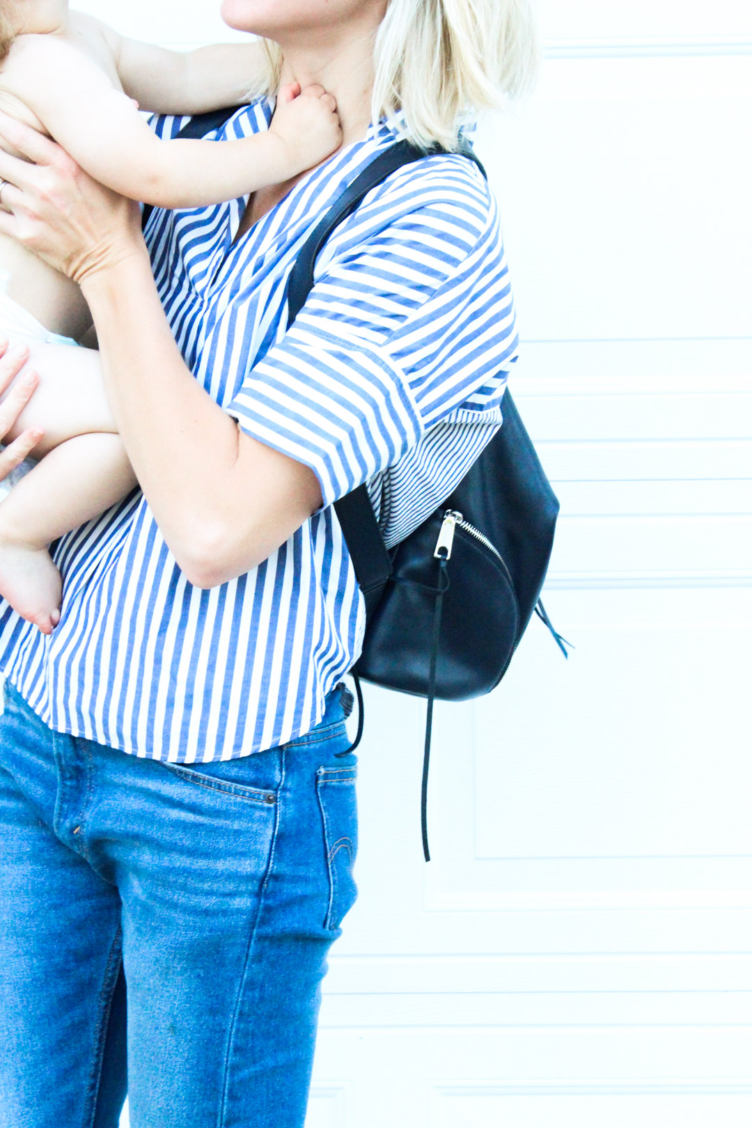 striped top and denim