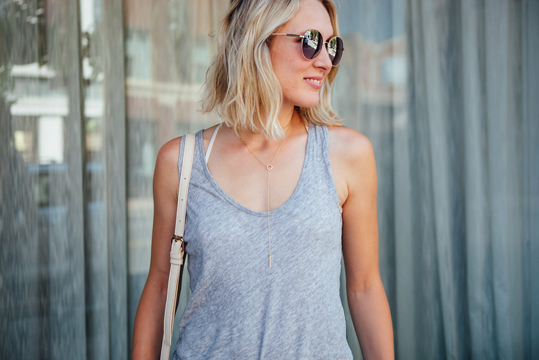 dainty necklace and tank