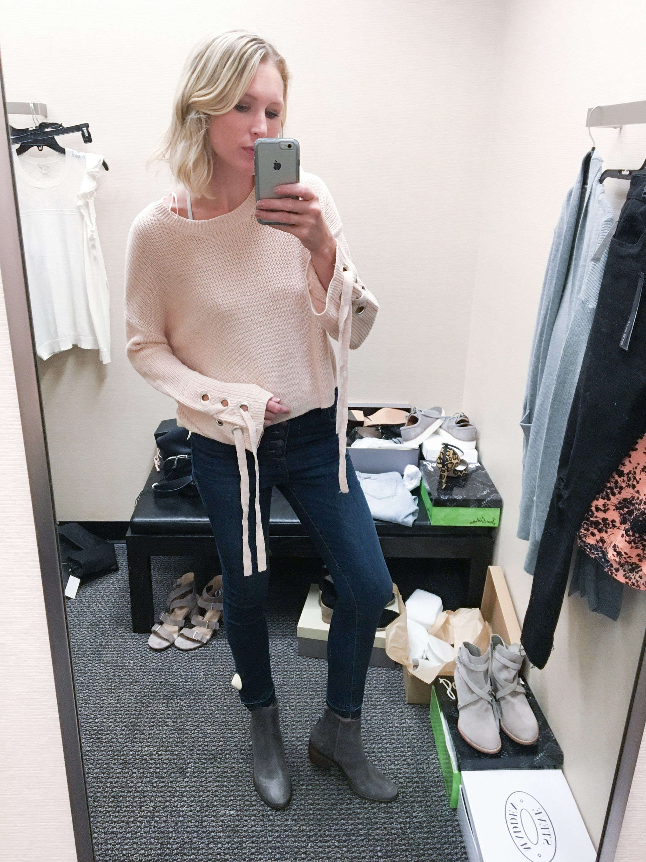 chunky pale pink tie sweater