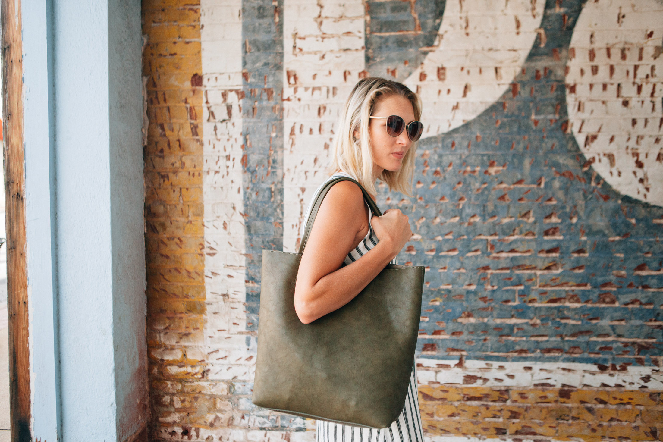 large olive green tote