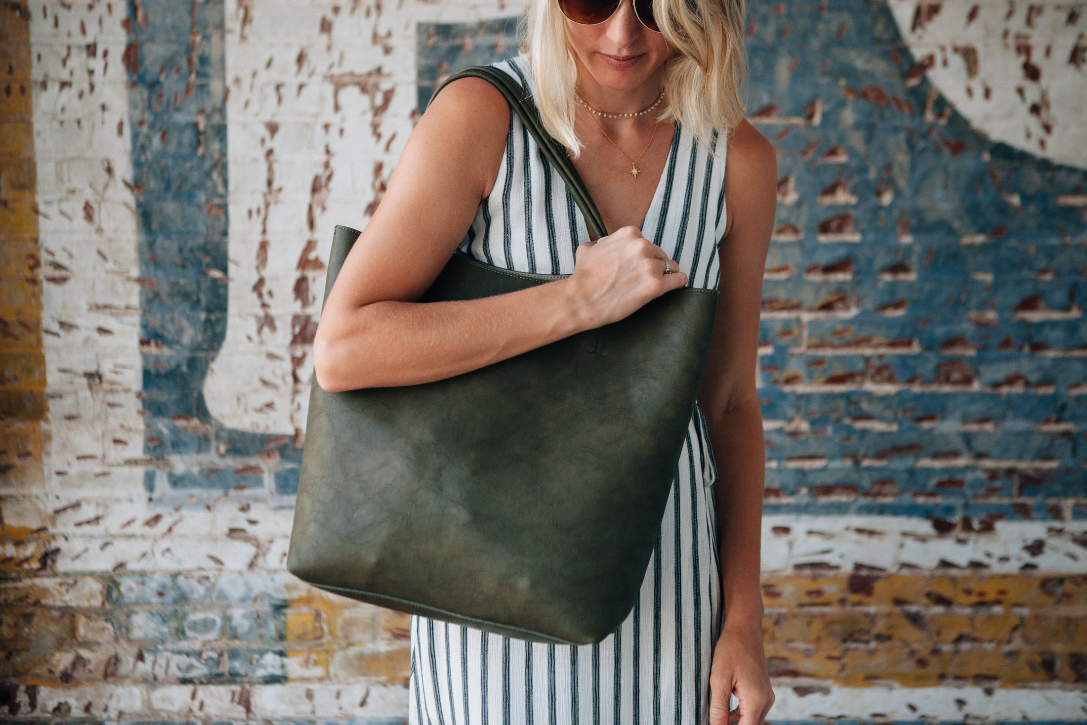 large tote and striped dress (1 of 1)