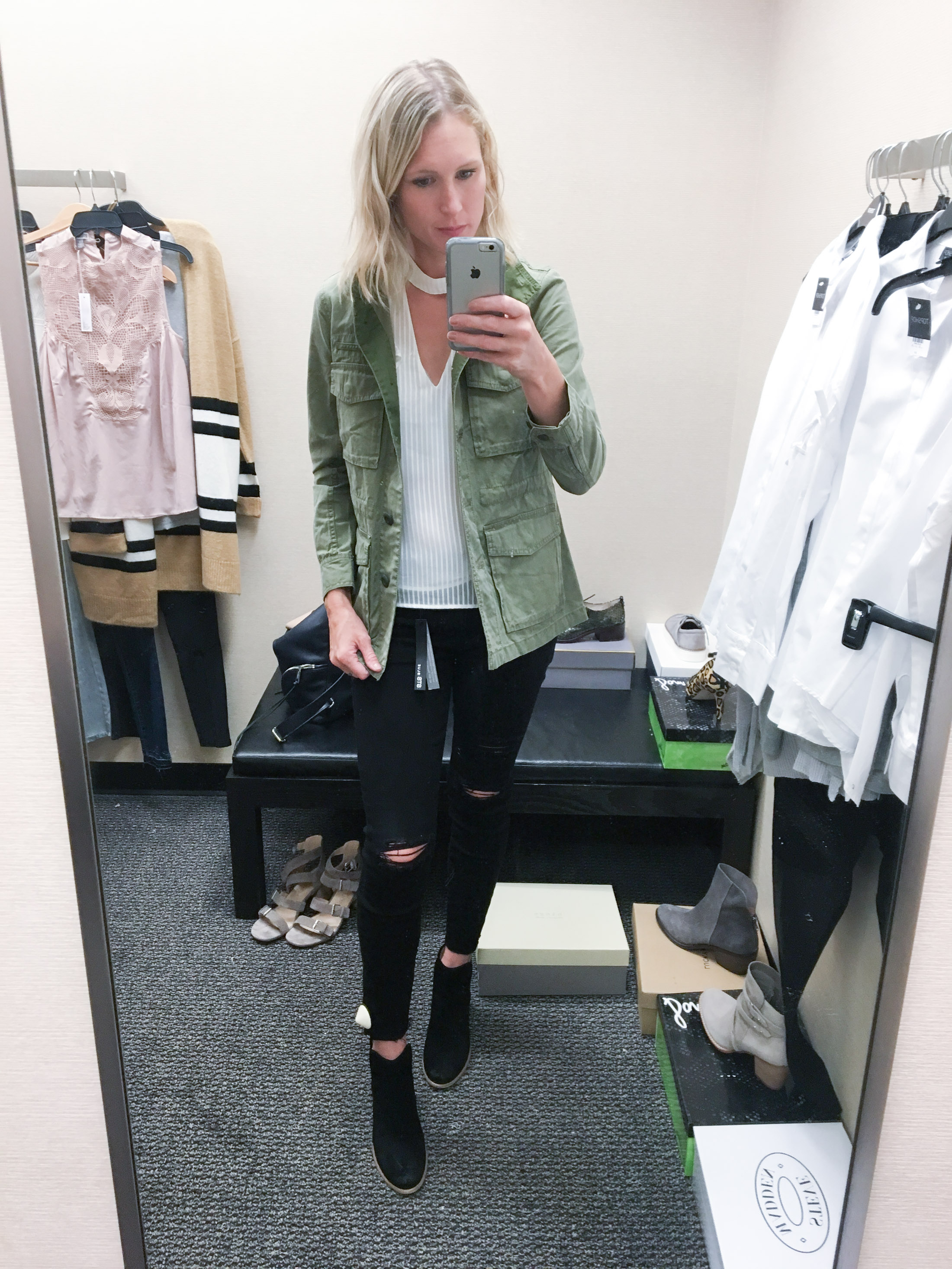 pretty top with utililty jacket