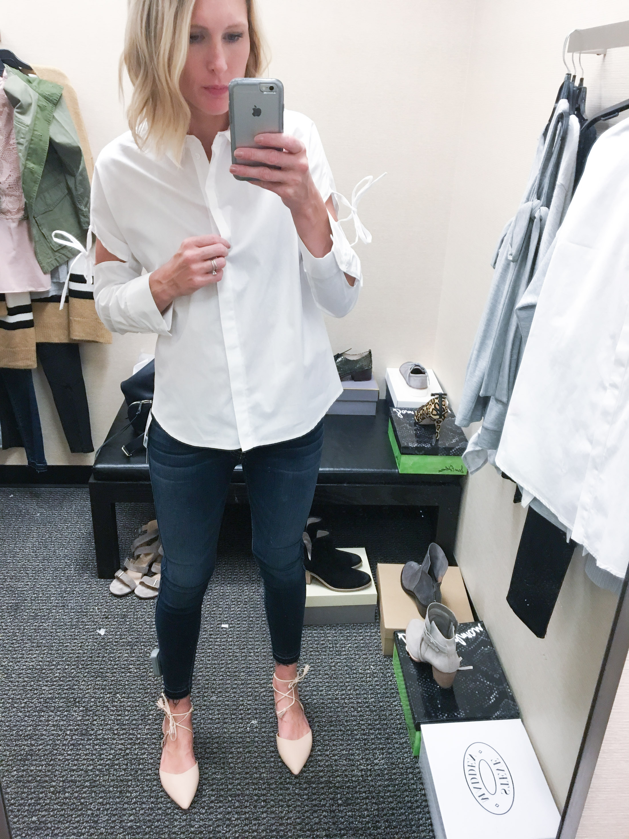topshop white tunic tie top