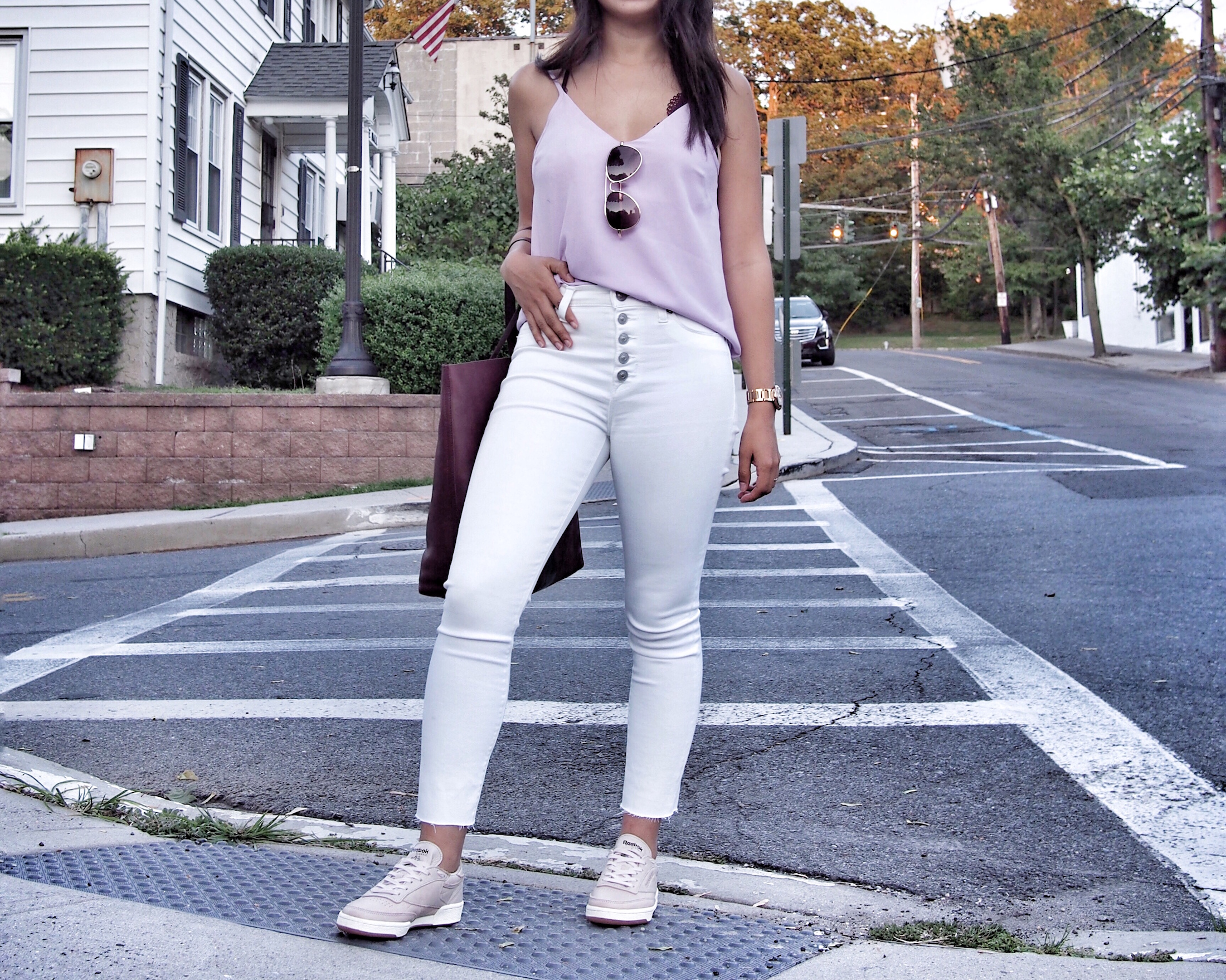 blush sneaker outfit