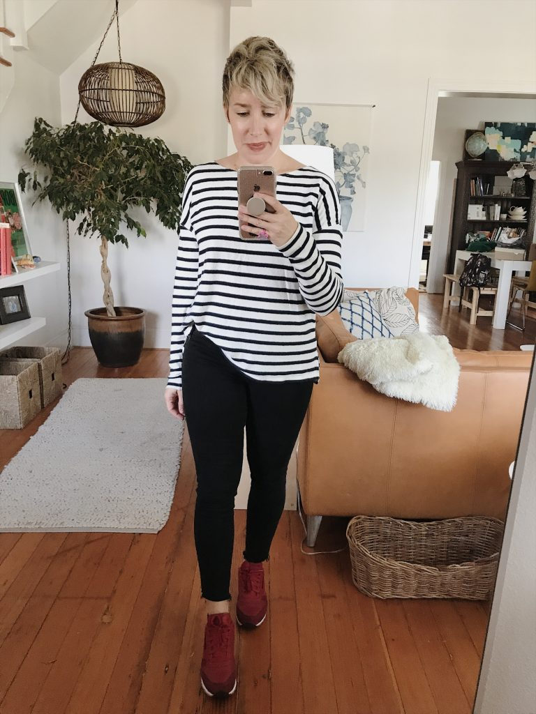 striped tee red sneakers