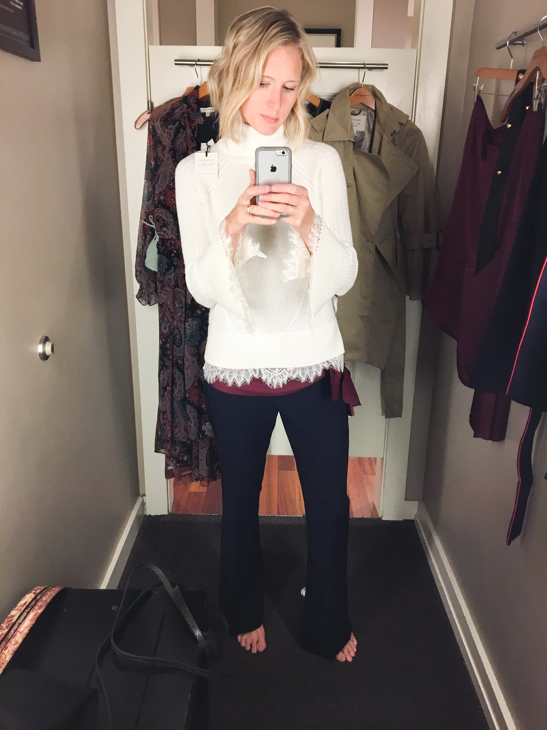 ivory sweater with navy pants