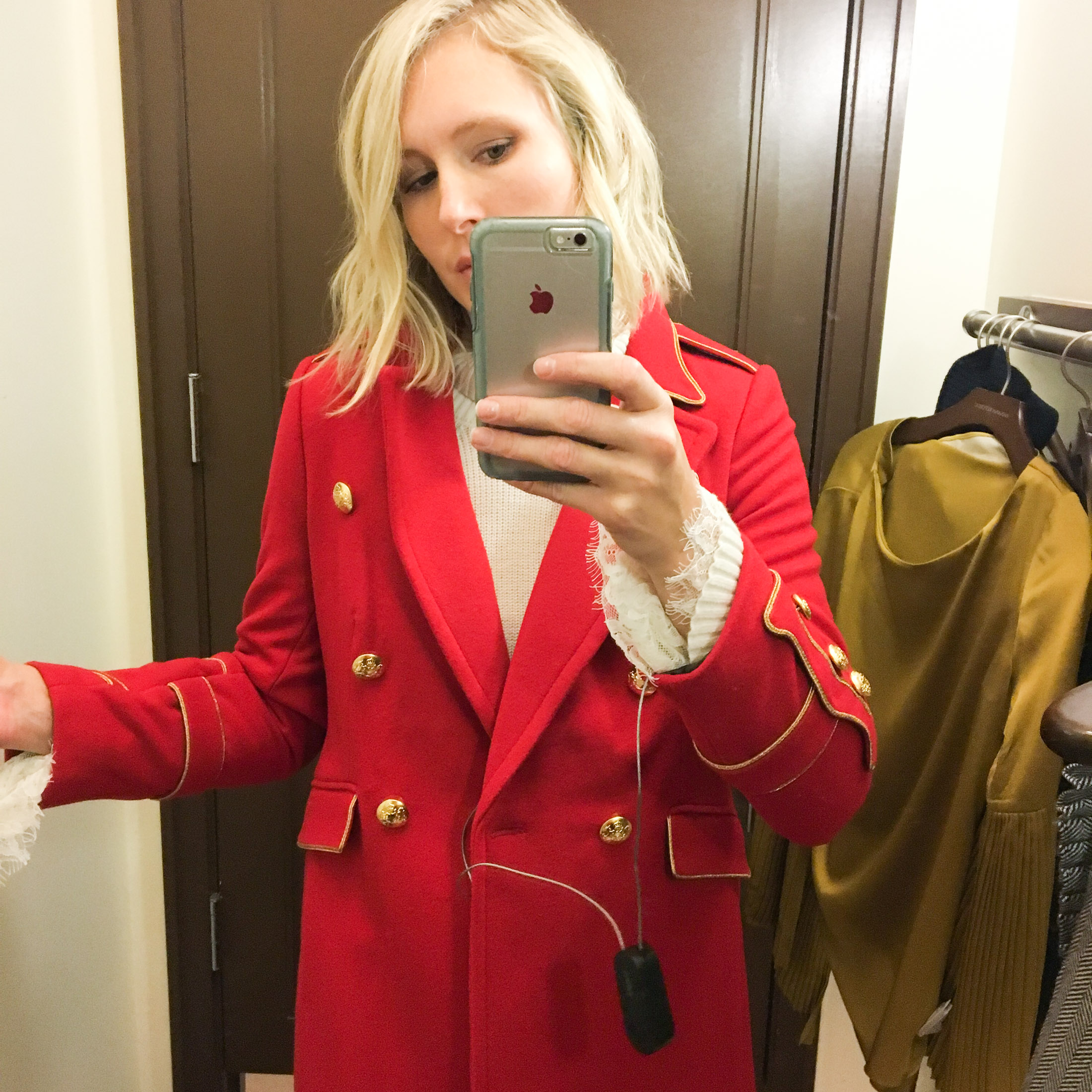 wearing olivia polermo red military coat