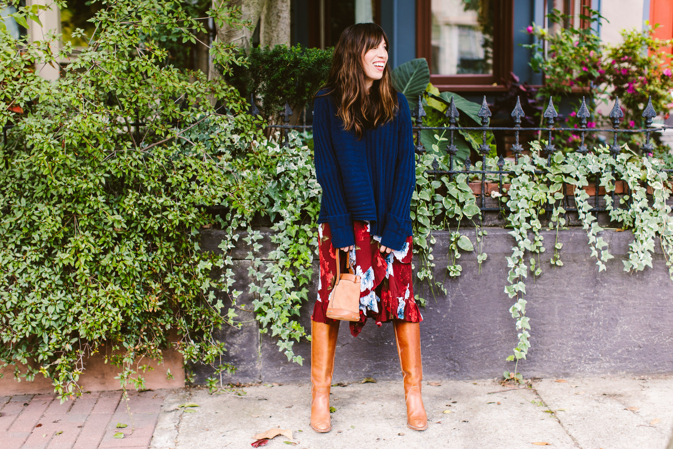 knee high boots with midi skirt