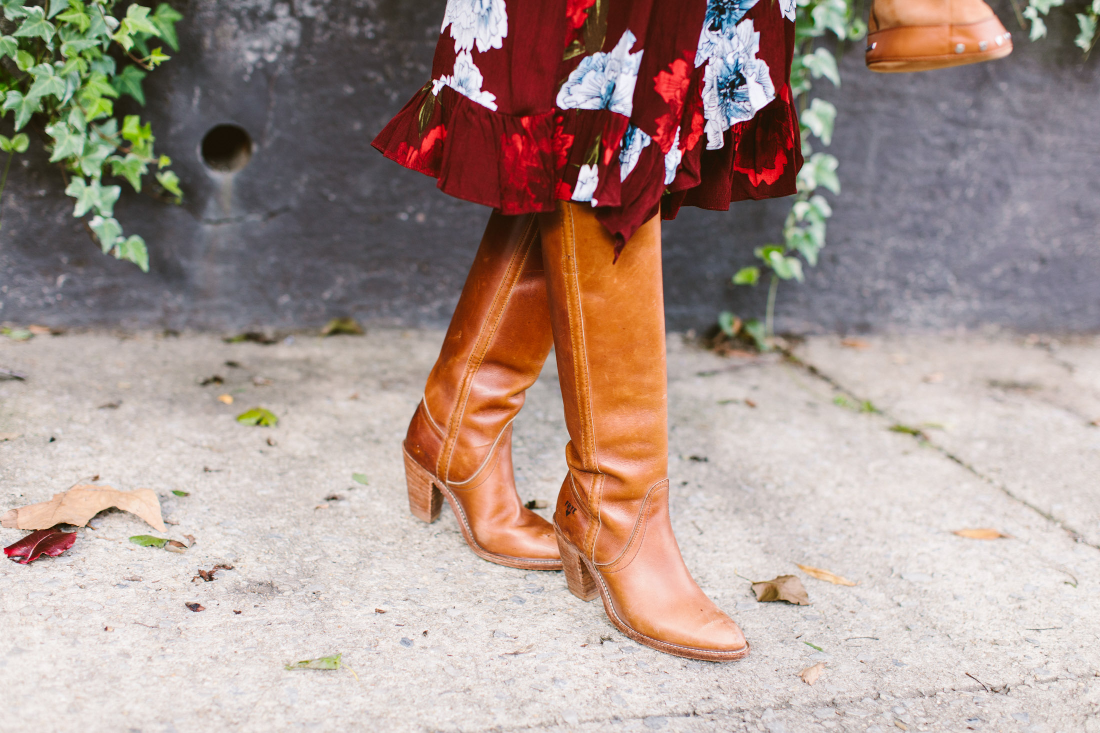 tall boots with midi skirt