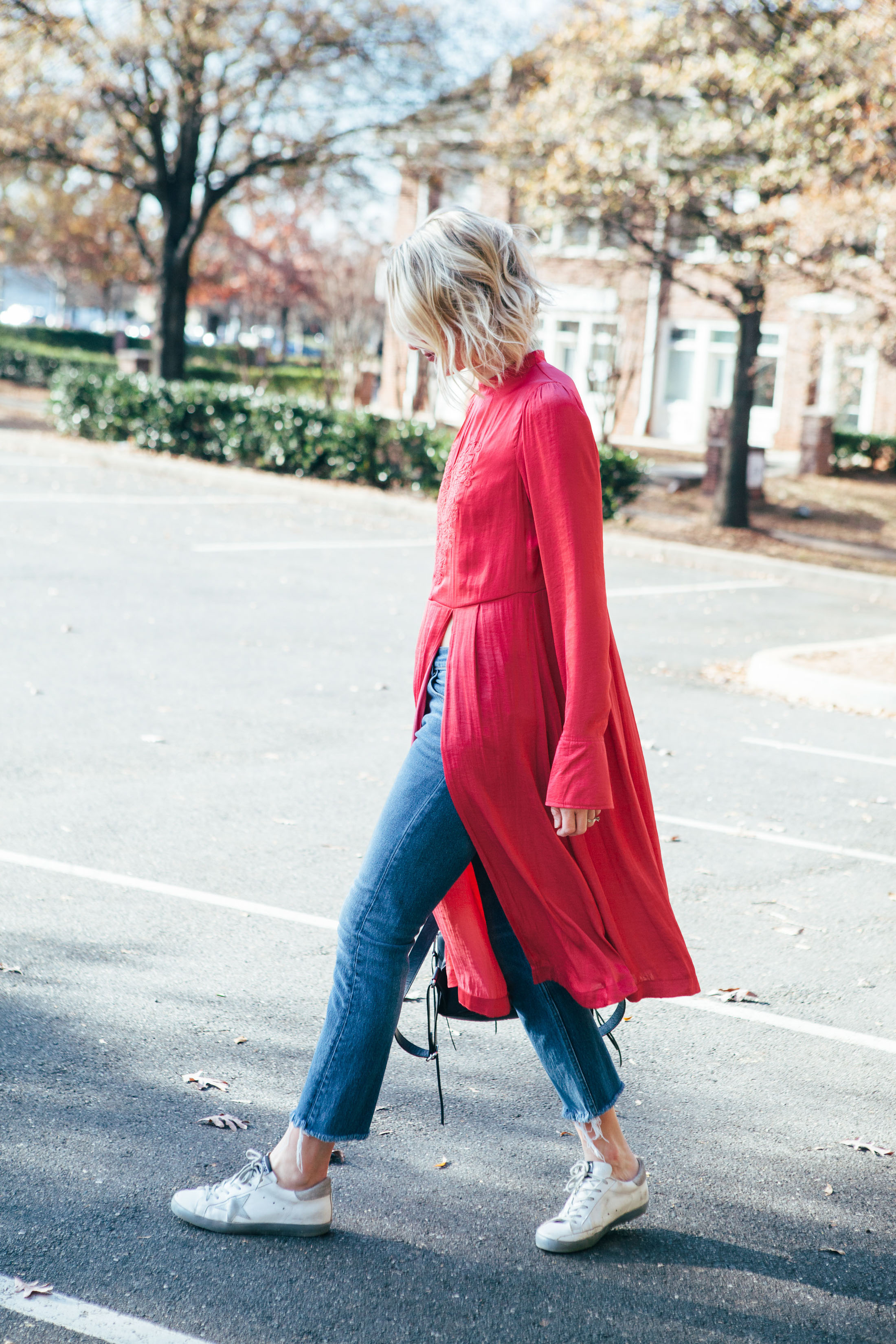 long tunic with sneakers