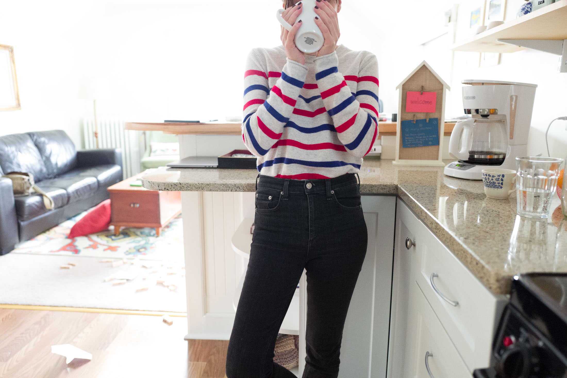 comfortable high rise jeans