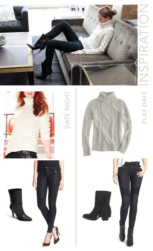 cozy sweaters and moto jeans