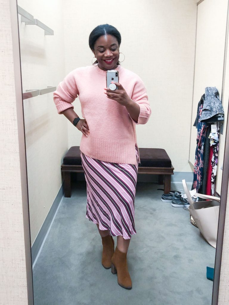 A pretty, striped bias cut skirt is 1 of our fav Anniversary Sale finds. Tried on by Tiarra & editor-approved, we're sold.