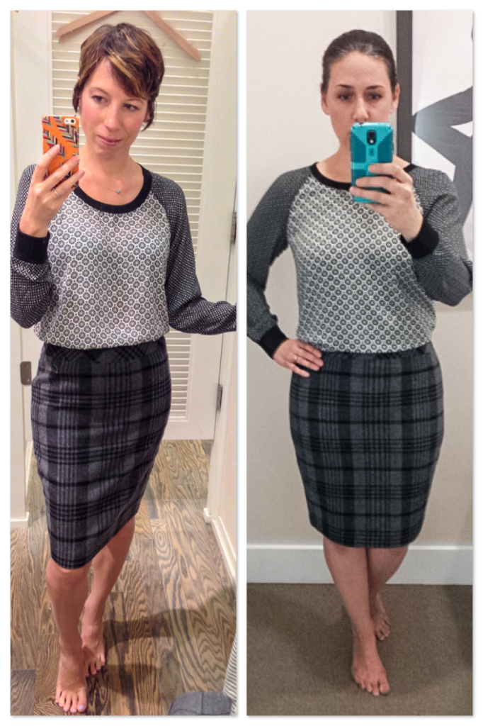 drs - LOFT- plaid pencil skirt - mixed prints