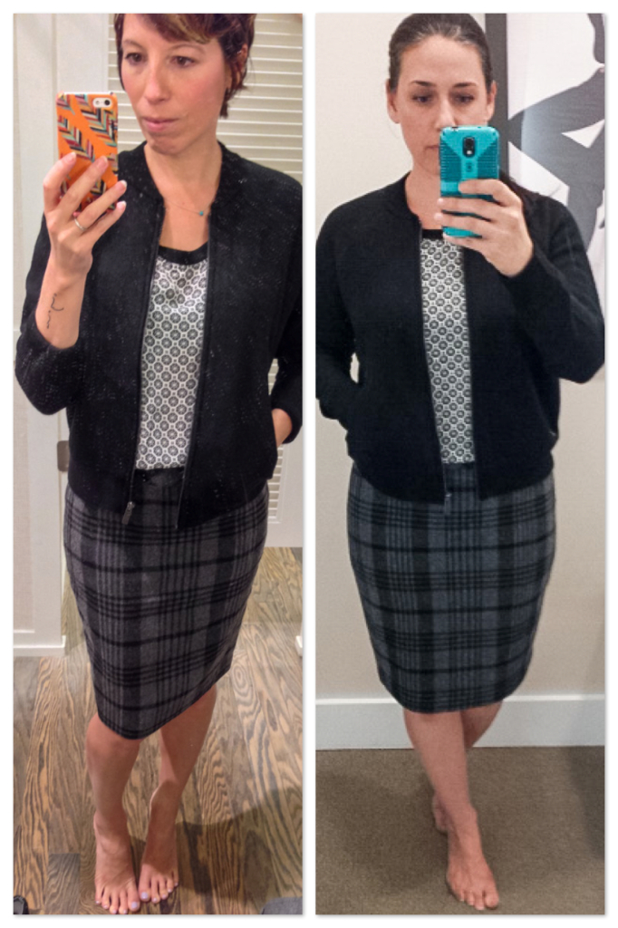 drs - LOFT- plaid pencil skirt - mixed prints - wool bomber jacket