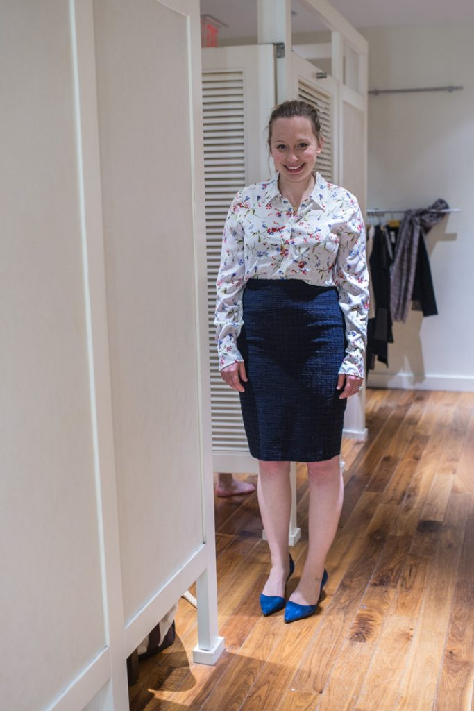 post-partum-work-wardrobe-anntaylor-pencil-skirt-equipment-blouse