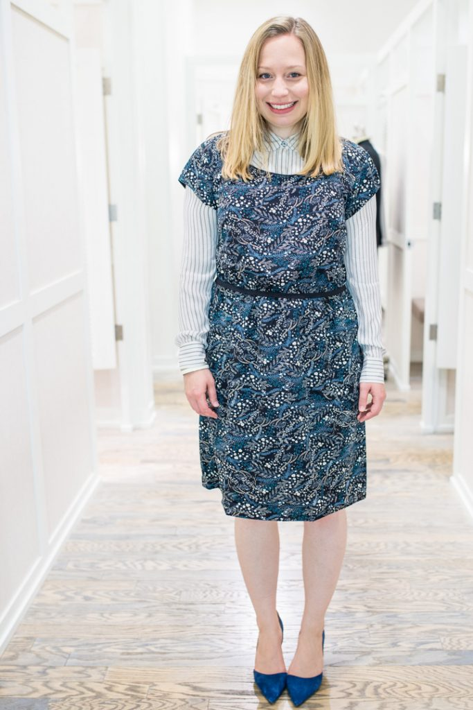 post-partum-work-wardrobe-loft-dress-blouse