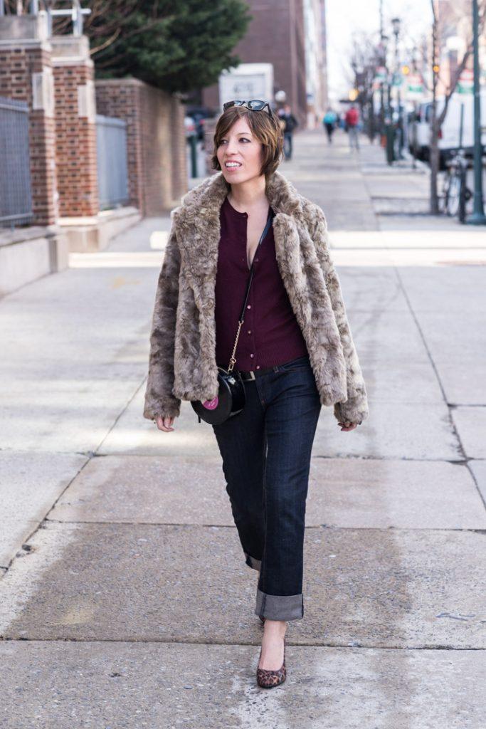 boyfriend-jeans-anthropologie-jcrew-cardigan-leopard-heels-faux-fur-coat-forever21-3