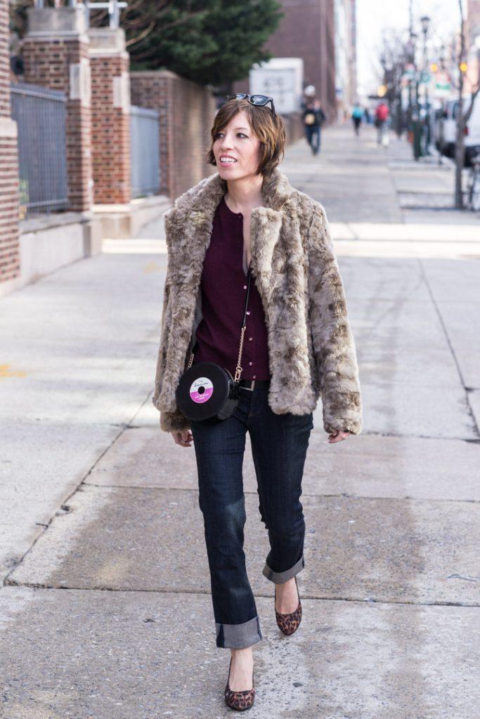 boyfriend-jeans-anthropologie-jcrew-cardigan-leopard-heels-faux-fur-coat-forever21-4