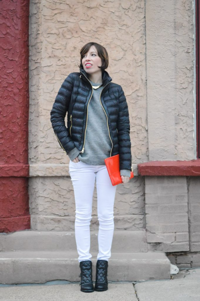 marc-jacobs-quilted-booties-white-jeans-zady-sweater-gold-jcrew-choker-french-connection-packable-down-jacket