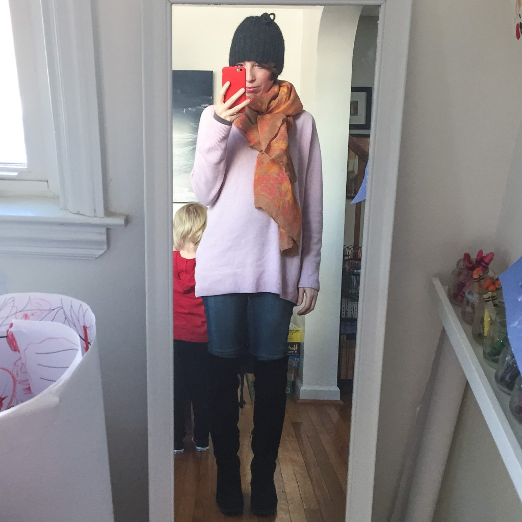 everydaystyle-equipmentsweater-pink-theodoraandcallum-scarf-overtheknee-boots