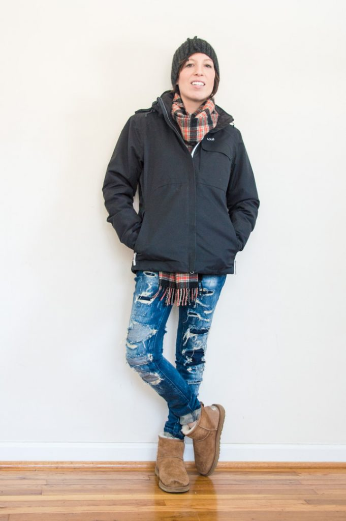 everydaystyle-uggs-lole-jacket-plaid-scarf-destroyed-jeans