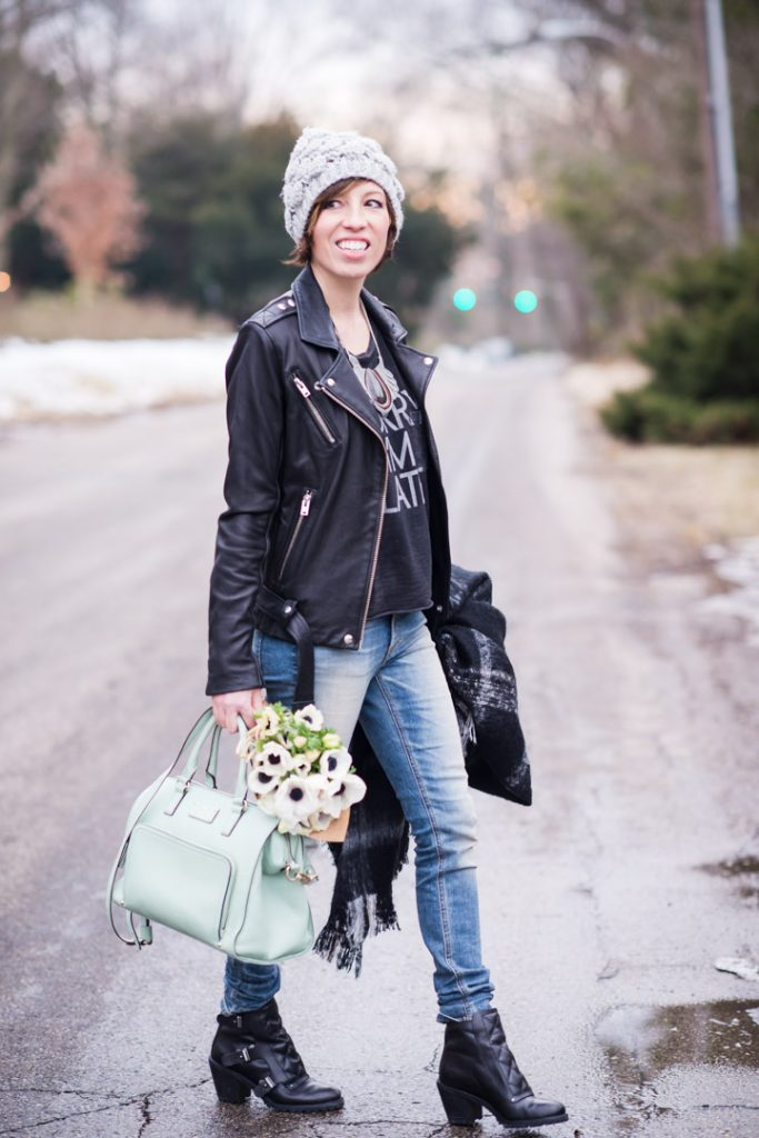 sorryi'mlate-tee-iro-leather-jacket-ragandbone-skinnies-marcjacobs-booties-kate-spade-pastel-bag
