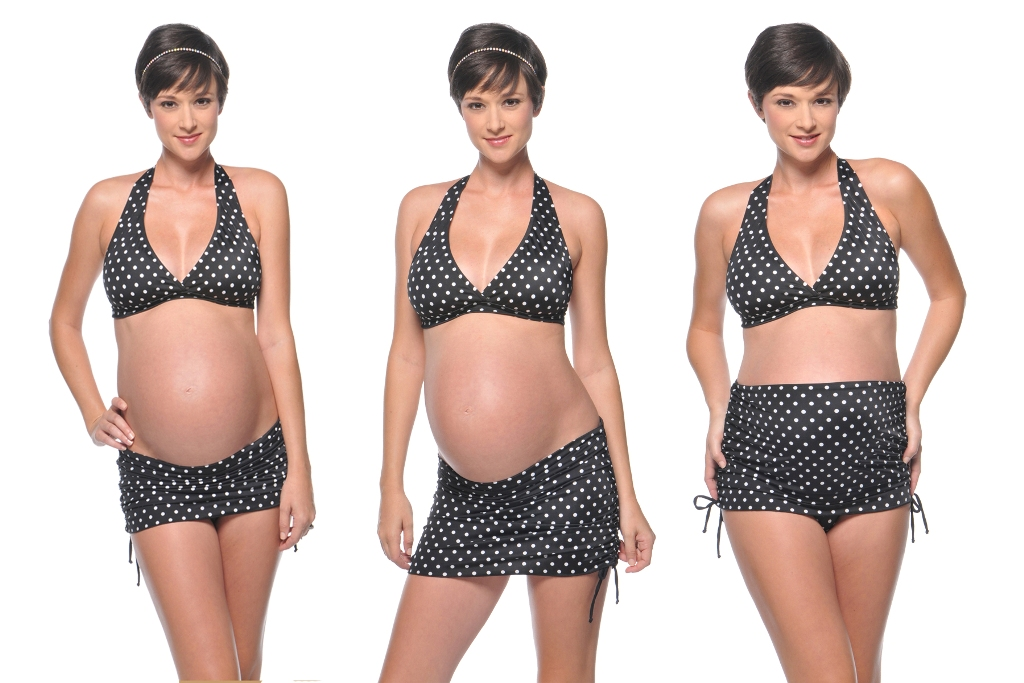 prego-dot-ruched-maternity-bikini-5