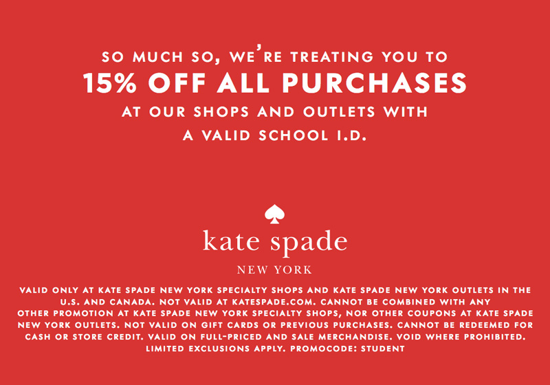 Kate Spade Back to School Promo