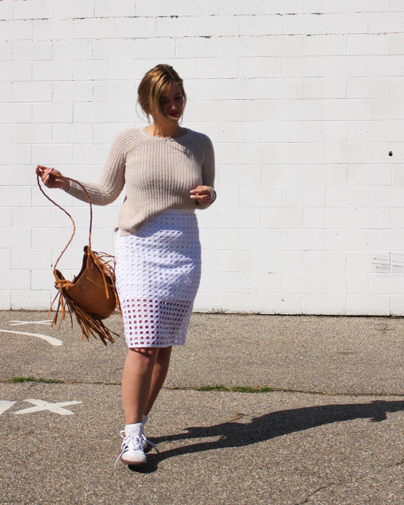white pencil skirt camel sweater 2